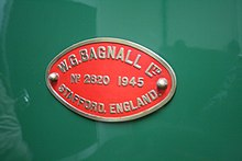 W.G. Bagnall Ltd. No 2820 of 1945. Stafford, England works plate.jpg
