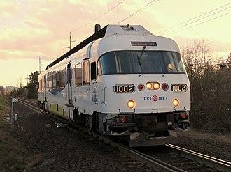 WES Commuter Rail - A single-car train in Beaverton