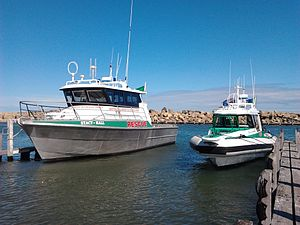 "Whitfords Volunteer Sea Rescue Group - WVSRG Boats in Ocean Reef boat launch, August 2011. ""Green 1 - Stacy Hall"" (left), ""Green 2 - City of Joondalip"" (right)"