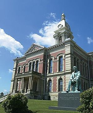 Wabash County Courthouse with Lincoln Monument by Charles Keck in the foreground Taken on May 15, 2002 -2.jpg