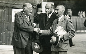 Walford Davies - Walford Davies (left) in about 1932 with fellow musicians Sir Hugh Allen (centre) and Cyril Rootham (right)