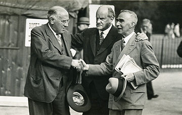 three musicians Walford Davies (left), Hugh Allen (centre) and Cyril Rootham (right)