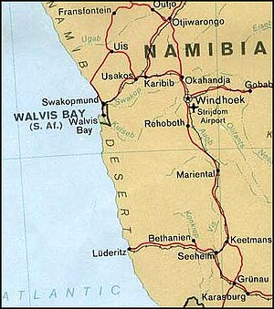 Walvis Bay - Map showing location of Walvis Bay and reference to South Africa before the handover to Namibia