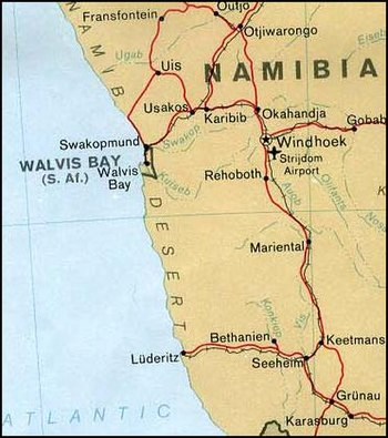 Map of Walvis Bay (Namibia)