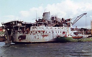 RFA Sir Tristram after the Argentine air attack