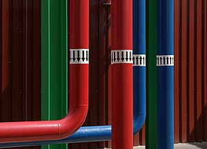 Pipes to a condenser of an air conditioner