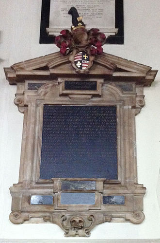 All Saints Church, Maidstone - Memorial to Lawrence Washington