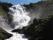 Colour photograph of the Kjosfossen waterfall in Norway.