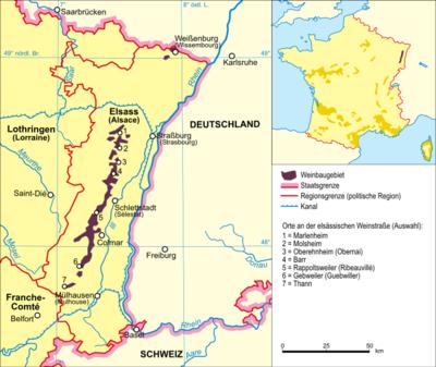 Elsass Karte Frankreich.Elsasser Weinstrasse Wikipedia