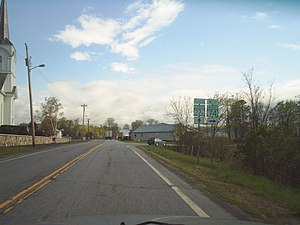 Shoreham, Vermont - VT 74 and VT 22A junction at Shoreham village