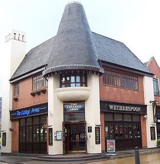 Wetherspoons is based in Watford near Watford Junction railway station WetherspoonsPboro.jpg