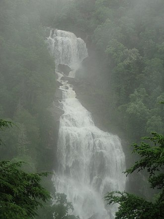 Whitewater Falls (North Carolina) - Upper Whitewater Falls after copious rainfall