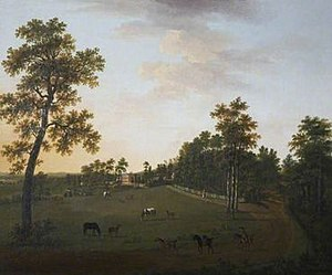 Whiteway House - Whiteway House, Chudleigh, Devon. Painted by William Tomkins, 1771. National Trust, Saltram House, Devon, Collection