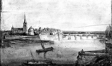 Wijk, van westelijke Maasoever gezien uit 1860. In 1868 kruithuis afgebroken. - Maastricht - 20147721 - RCE.jpg
