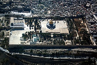 View of the Temple Mount in 2013; east at the bottom WikiAir IL-13-06 037 - Temple Mount.JPG