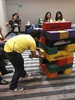 Wikimania 2015-Wednesday-Volunteers play Weasel-Jenga (2).jpg