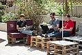 Wikimedia Hackathon Vienna 2017-05-19 Hacking outside 001.jpg