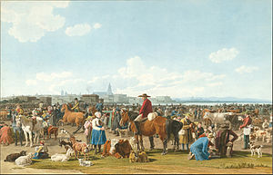 Wilhelm von Kobell - Wilhelm von Kobell - Cattle Market before a Large City on a Lake, 1820