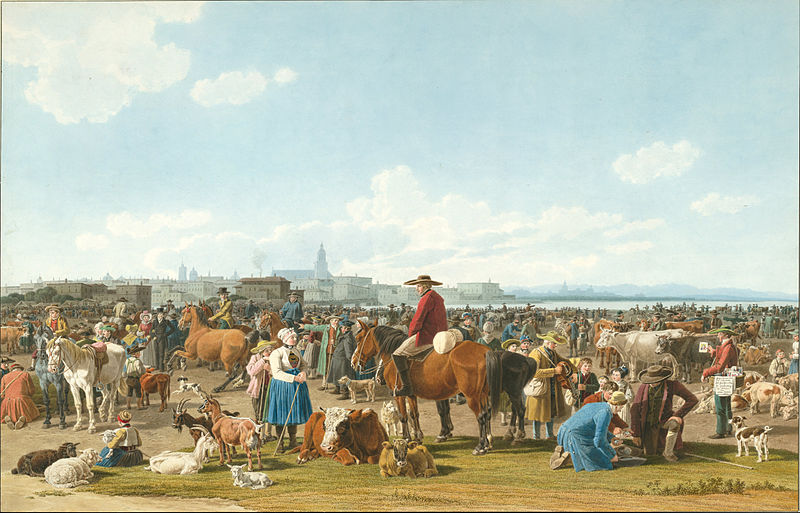File:Wilhelm von Kobell - Cattle Market before a Large City on a Lake, 1820 - Google Art Project.jpg