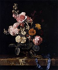 Flowers in a Glass Vase with a Watch, on a Marble Ledge