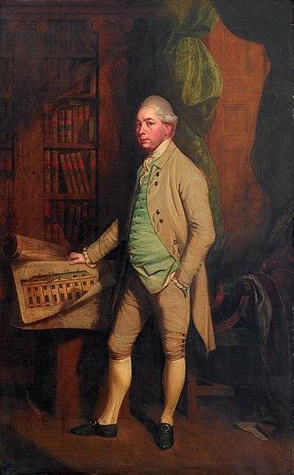 Benham Park - William, 6th earl of Craven, holding the Benham plans (Thomas Beach, 1778)