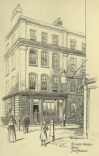 28 Broad Street (now Broadwick Street) in an illustration of 1912. Blake was born here and lived here until he was 25. The house was demolished in 1965. WilliamBlake'sHouse.jpg