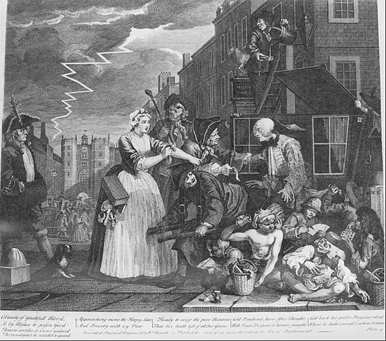 A Rake's Progress, Plate 4, Arrested for Debt. By William Hogarth. Via Wikimedia Commons.