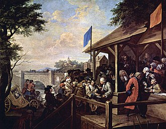 Political colour - Hogarth's The Polling, depicting a 1754 election to the British parliament, includes a blue flag representing the Tories and a buff flag representing the Whigs