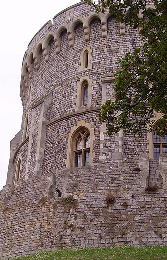 The Round Tower in the Middle Ward, built by Henry II and remodelled in the 19th century Windsor round tower 03.JPG