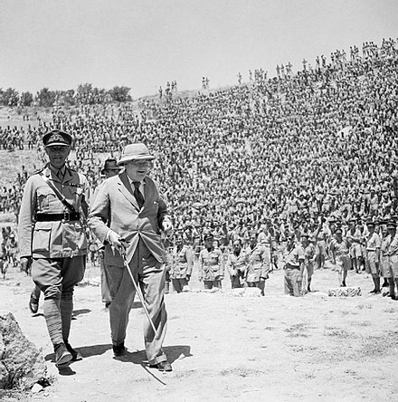 Winston Churchill in the Roman amphitheatre of ancient Carthage to address 3,000 British and American troops, June 1943