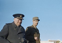 Winston Churchill with General de Gaulle during an inspection of French troops at Marrakesh in Morocco, January 1944. TR1505.jpg