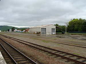 Woodville Railway Station, New Zealand - Woodville railway station goods shed and loading bank
