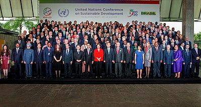 Líderes mundiais participando da Rio + 20