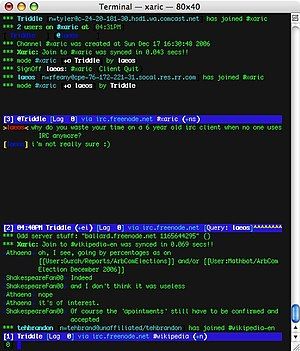 Internet Relay Chat - Xaric, a text-based IRC client, in use on Mac OS X. Shown are two IRC channels and a private conversation with the software author.