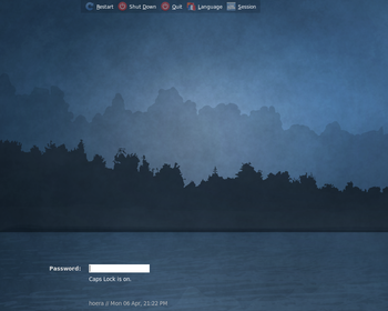 Screenshot of Xubuntu 9.04's login screen