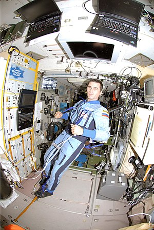Yuri Malenchenko - Yuri Malenchenko, Expedition 16 Flight Engineer inside the Zvezda Module of the ISS.