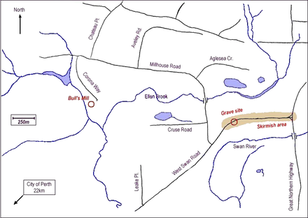 Map of skirmish area showing gravesite and Henry Bull's mill Yagan-Belhus.png