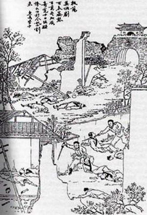 "Military of the Qing dynasty - A late-Qing woodblock print representing the ""Yangzhou massacre"" of May 1645. By the late 19th century, the massacre was used by anti-Qing revolutionaries to arouse anti-Manchu sentiment among the population."