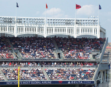 The iconic frieze that lined the roof of the original Yankee Stadium from 1923 to 1973 is replicated on the current stadium's roof Yankee-stadium-frieze.jpg