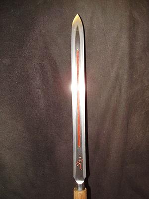 Yari - Straight Yari (su yari), detail view; blade is about 1 shaku (approx. 30cm) in length