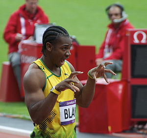 "Yohan Blake - Blake doing his signature ""Beast"" move at the 2012 Olympics"