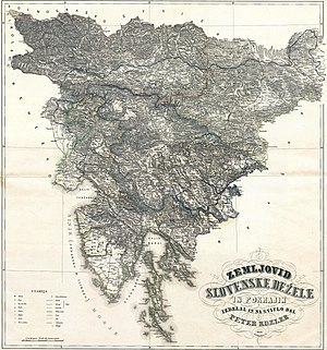 Peter Kozler's 1848 Map of Slovene lands and provinces with Gottschee outlined - Gottschee