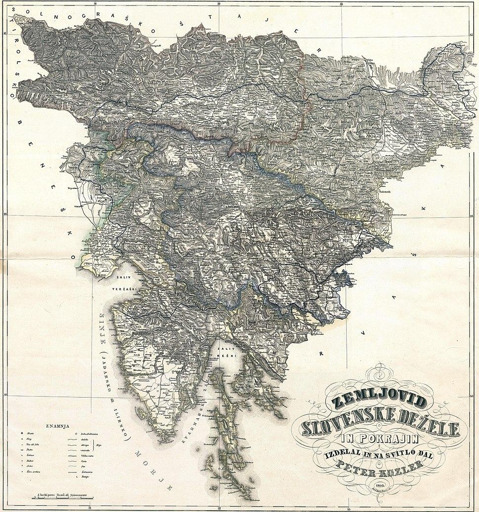 Zemljovid Slovenske dezele in pokrajin