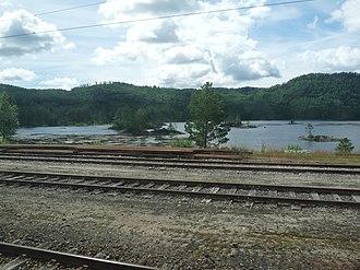 Nelaug (lake) - Image: Zicht vanaf Nelaug station