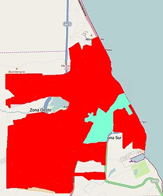 Water supply problems in Caleta Olivia 2014 - In red: areas where there was no water. In blue, areas where water was obtained from Cañadón Quintar and Meseta Espinoza.