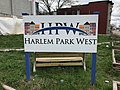 """Harlem Park West"" sign at Community Walk Through Theater, W. Lanvale Street and N. Monroe Street (southeast corner), Baltimore, MD 21217 (27690326738).jpg"