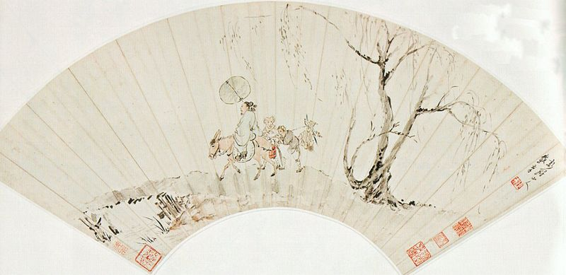 File:'Zhong Kui and Demons', ink and color on paper fan by Hua Yan (Hua Yan), 18th century Chinese (Qing dynasty).jpg
