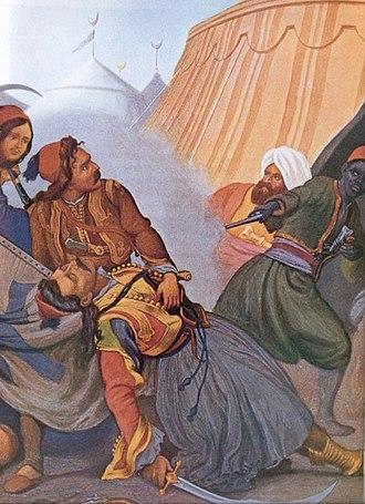 Markos Botsaris - Botsaris dying in Karpenisi by Peter von Hess
