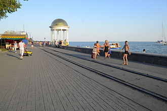 Berdiansk - Berdiansk embankment with railway tracks visible