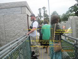 Image depiction of minimal four tefach requirement at pathway entry to ohel